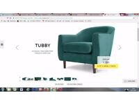 NEW!! Made. com Tubby armchair accent Peacock Green velvet St Albans