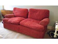 Red 2 person sofa, ex M+S