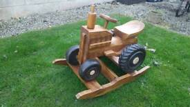 Indoor/outdoor solid Wood tractor rocker