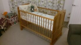 Cot Bed, solid wood, height adjustable, mattress and bedding not included.
