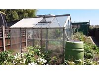 Greenhouse Aluminium with shelf and roof window - 2.5m x 1.85m