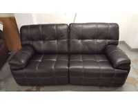 New ScS Axis 3 Seater Manual Recliner Sofa in Black Leather CAN DELIVER View Collect Kirkby NG177
