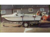 Boat & road trailer with 60hp two stroke outboard engine