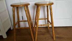 Pair solid wood stools