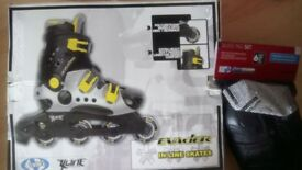 Evader in-line skates size 6/7, brand new, with skate pad set