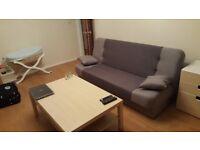 sofa + 2 pillows + 2 poufs