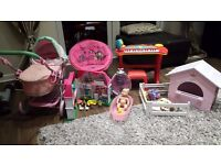 Girls toys, Piano, Chair, Dolls Pushchair, Mini House, Bay Born House for Animals