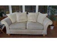SOFAS two cream coloured, 2-seater, cushioned back sofas FREE but must be collected