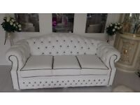 White real Italian leather customized chesterfield suite