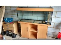 Jewel rio 240 fish tank with beech colour stand. Both used but good condition. Extras included