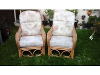 Pair of bamboo chairs with cushions