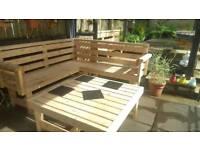 Garden patio bench with table