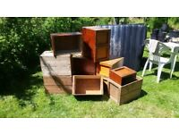Vintage wooden boxes various sizes- good condition and lovely finish