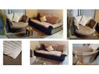 Beautiful Brown beige and cream chenille fabric sofa and matching spinning cuddle chair very stylish