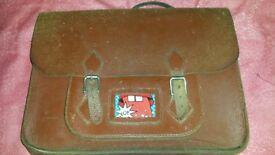 Leather 'old school' Satchel - adjustable straps
