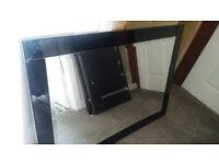 Black Glass Designer Mirror – Excellent Condition – Quick Sale Needed