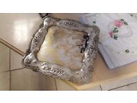 Silver-plated Ornamented Square Platter