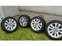 Set of BMW Alloy wheels with winter tyres.