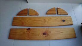 2 x pine wooden shelves and corner brackets