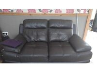 2 large 2 seaters brown leather from harveys