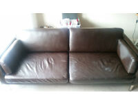 Brown Real Leather Sofa