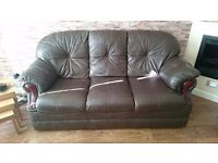 Leather sofa set for sale. Three seats sofa + two armchairs. Option to buy single pieces separately