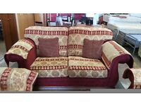 Red patterned 2 seater and 2 armchairs fabric sofa set