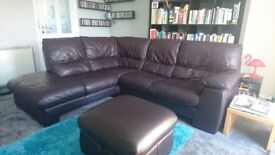 Leather corner sofa with matching foot stool