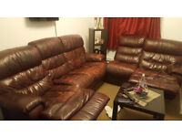 Brown Faux leather 4 recliner sofa sitting 6 person