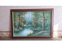Dark brown framed landscape painting.Size 40 inches x 28.5 inches.