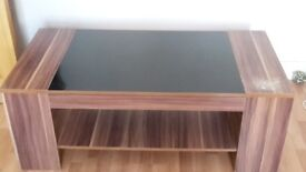 Glass Coffee Table with wooden panel and shelf