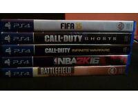 PS4 Games : NBA 2K16 , Call Of Duty Ghosts , Call Of Duty Infinite Warfare , Battlefield Hardline