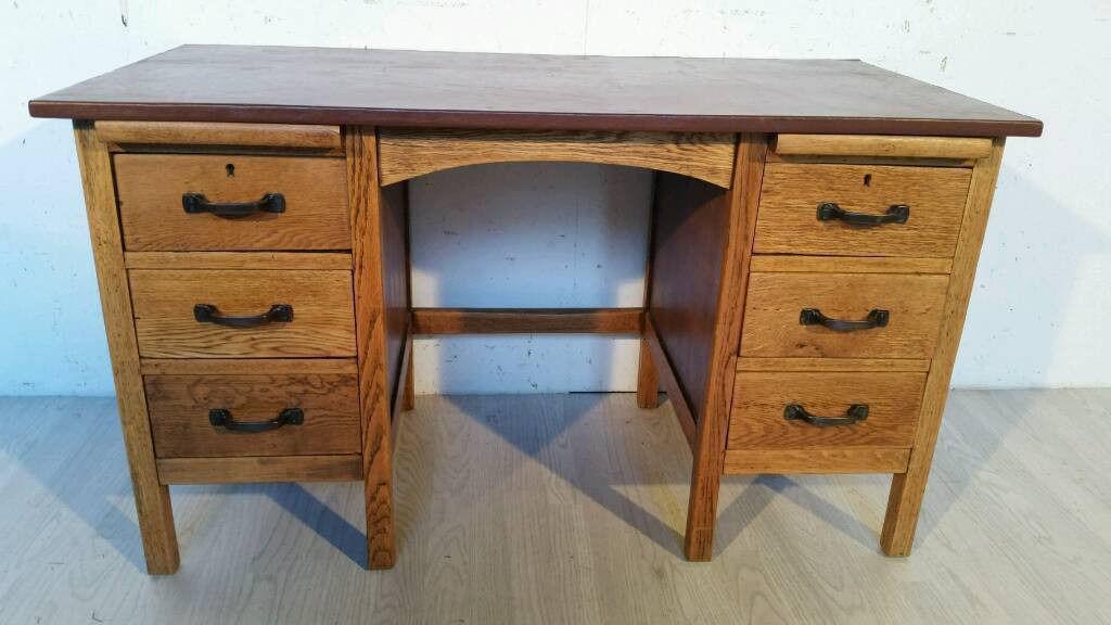 Vintage Oak School Teacher Desk