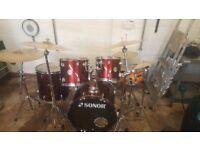 Complete Drum kit Sonor Rock Cherry Red Metallic