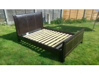 Wood and faux leather double bed in good condition