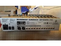 BEHRINGER EURORACK UB1832FX-PRO For DJ or Band mint condition Mixer