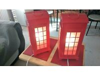 2X RED TELEPHONE BOX LAMPS