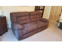 3 Seater Mocha Suede Recliner Sofa