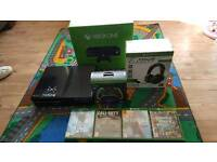 Xbox One in Box with 4 Games, Headset, Battery Controller & Plug in Controller !!!