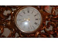 Vintage Jaeger LeCoultre Ornate Rococo Gold Wall Clock 1960's