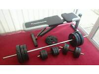 Exercise bench + weights