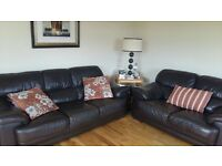Brown leather 3 seater and 2 seater in good condition