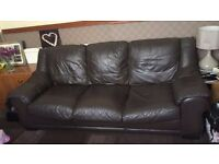 3 Seater and 2 Seater chocolate brown leather sofa £80 for both