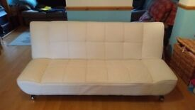 Faux leather clic clac sofa bed