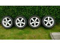 "4x16"" Alloy wheels & 205x55x16 Bridgestone All Weather tyres"