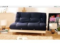 Sofa and bed - pine futon base with Dark blue thick mattress
