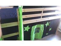 Pine cabin bed with black and green tower, tent/den and tunnel. Kidspace Galaxy midsleeper for sale.