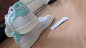 New Authentic Adidas Womens Shoes, White and Aqua