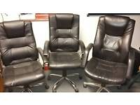 Three leather feel office chairs
