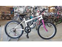 GIRLS HUFFY TEMPEST BIKE 20 INCH WHEELS 6 SPEED WHITE/PINK GOOD CONDITION